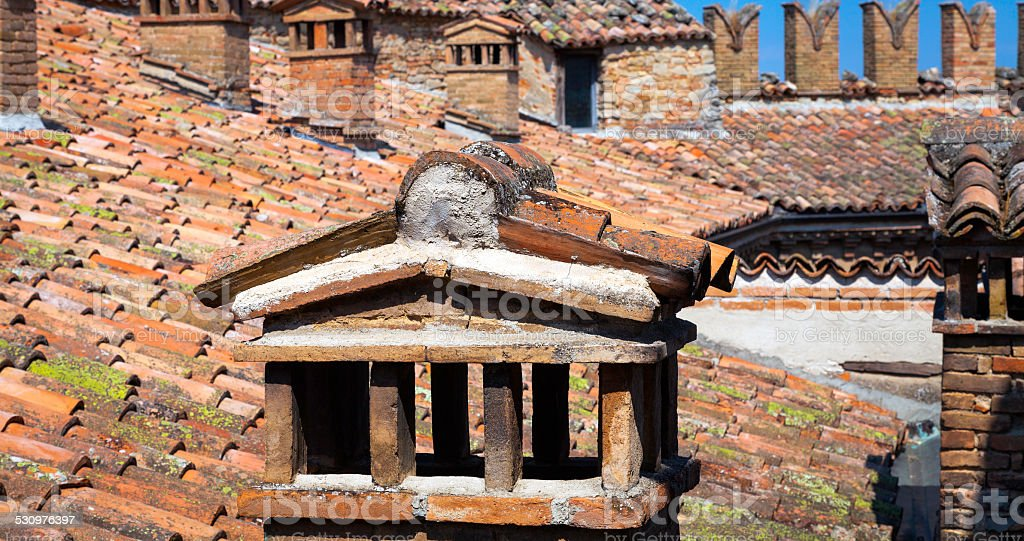 Oltrepo Pavese castle roof. Color image stock photo