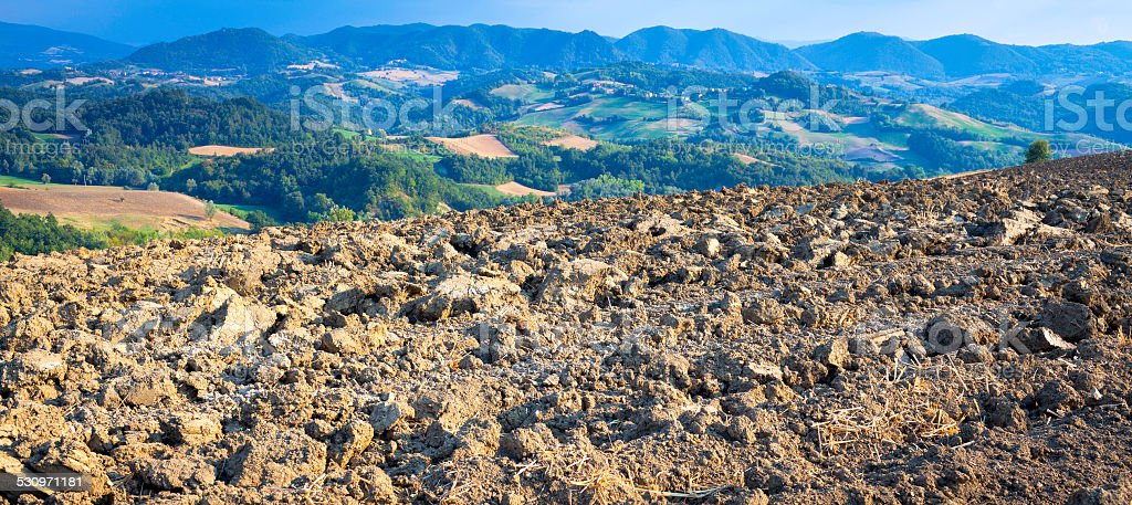 Oltrepo Pavese hilly region, summer panorama. Color image stock photo