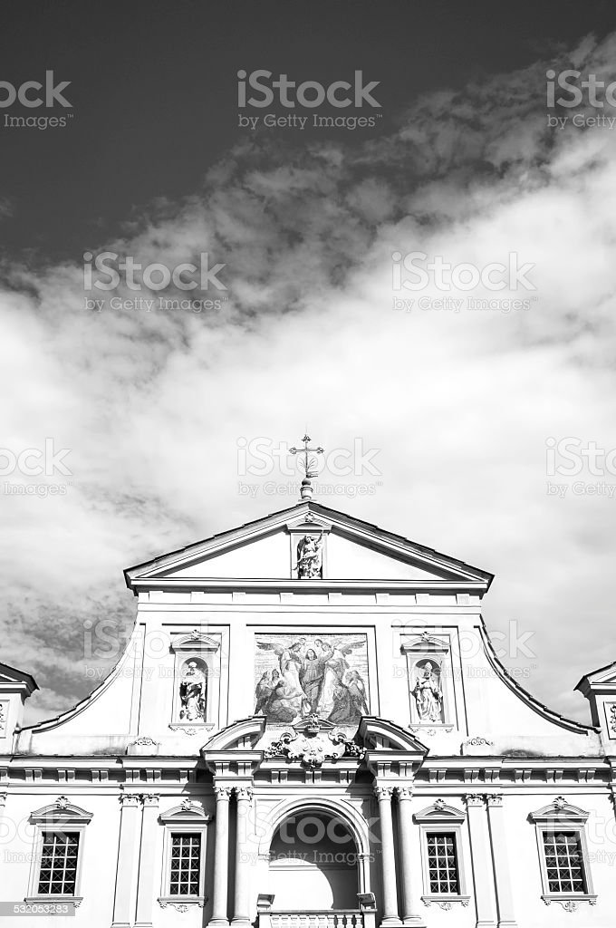 Oltrepo Pavese, old church facade. BW image stock photo