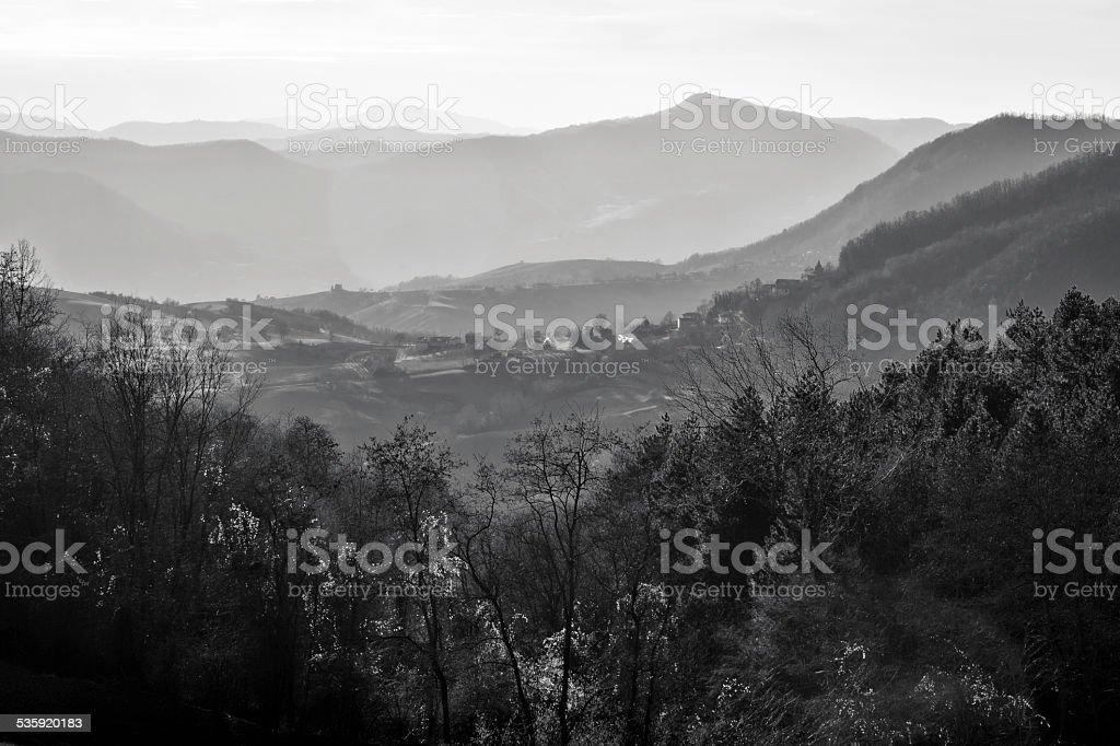 Oltrepo Pavese winter panorama. Black and white photo stock photo