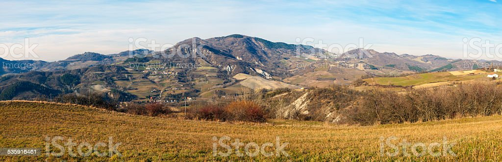 Oltrepo wide-angle winter panorama. Color image stock photo