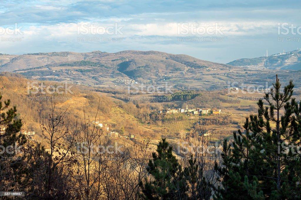 Oltrepo winter panorama. Color image stock photo