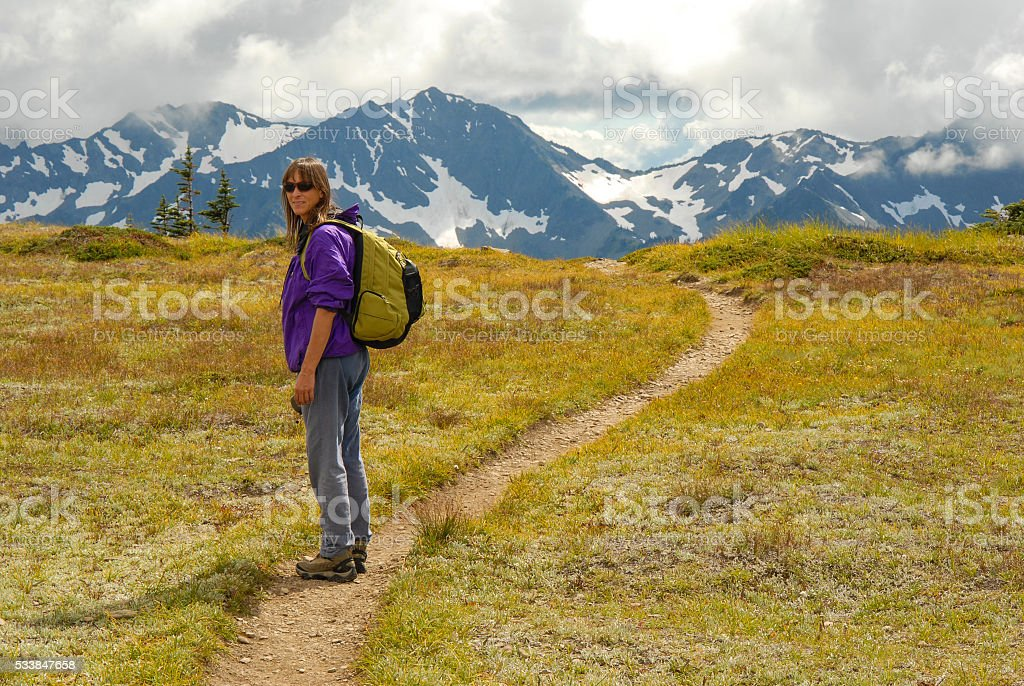 Olymic mountains hiking stock photo