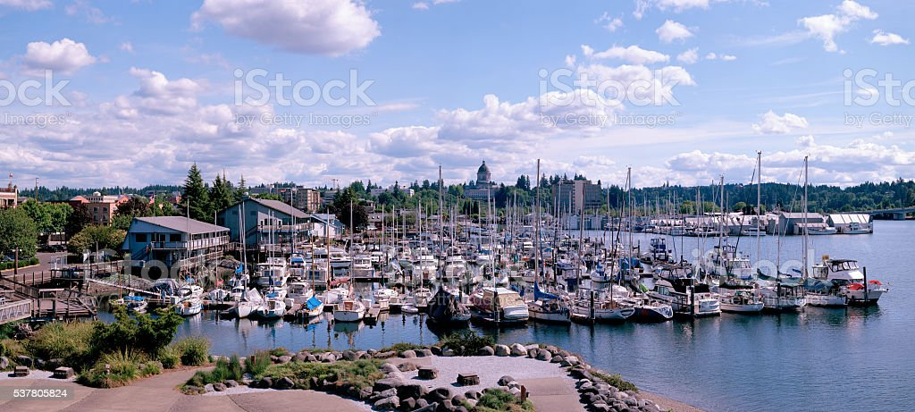 Olympia Harbor, Capitol, and Town stock photo