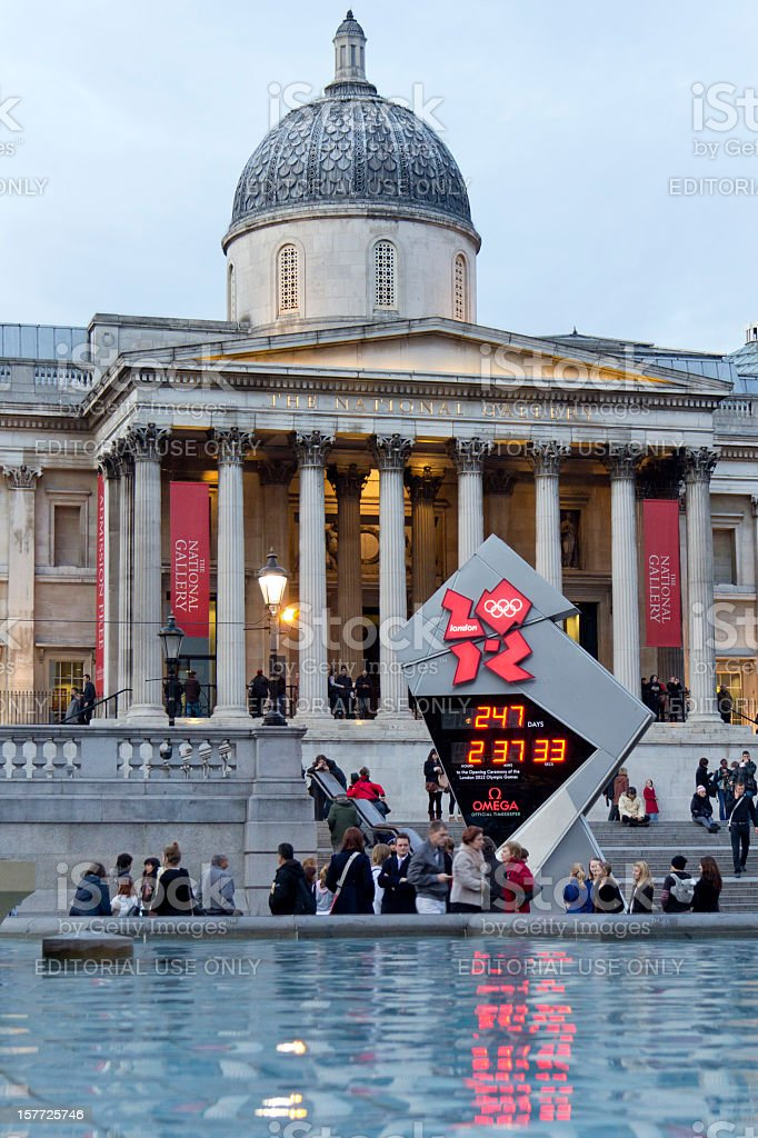 Olympic Countdown Clock and The National Gallery, London. stock photo