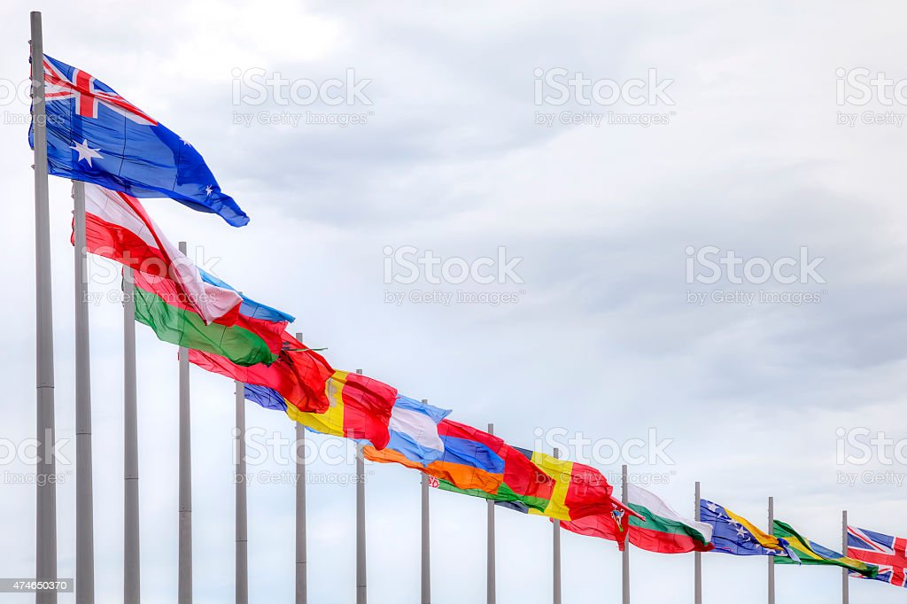 Olympic flags stock photo