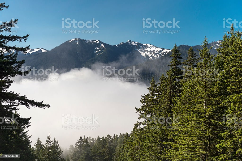 Olympic Mountains Clouds Hurricane Ridge Olympic National Park Washington State stock photo