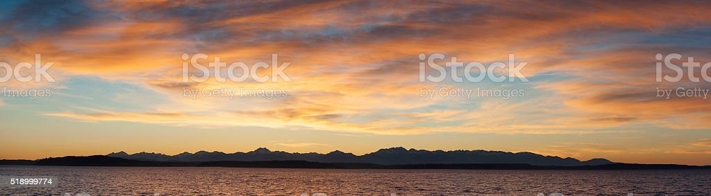 Olympic Mountains Panorama stock photo
