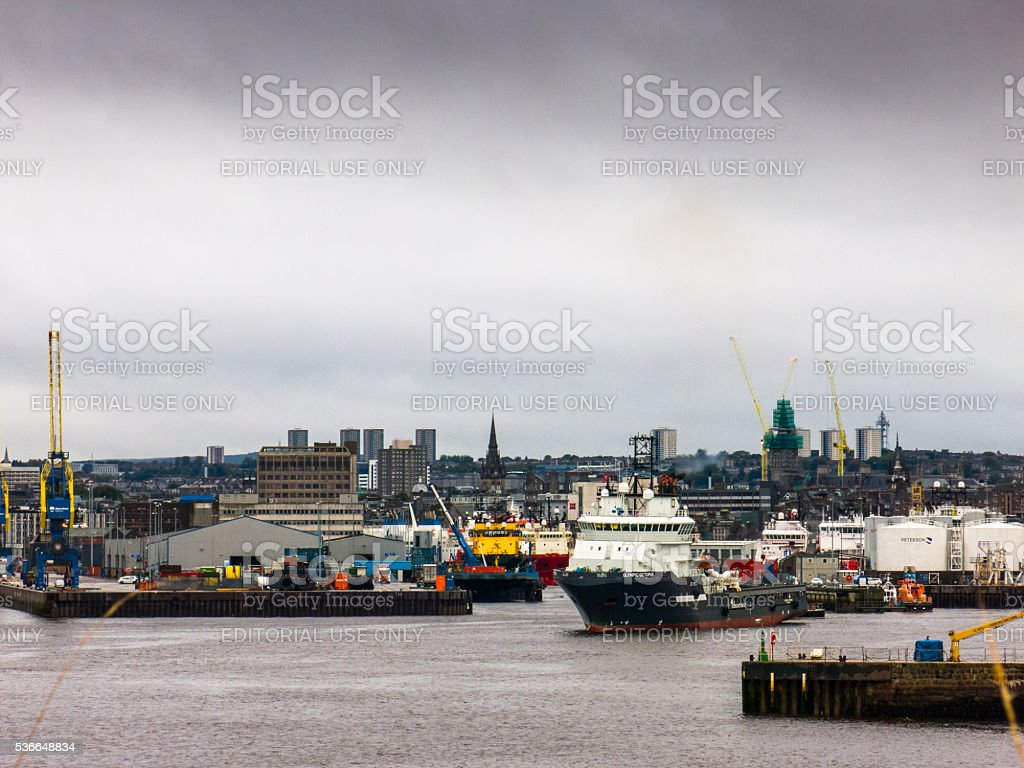 'Olympic Octopus' Offshore Supply Vessel Exits Aberdeen Harbour stock photo