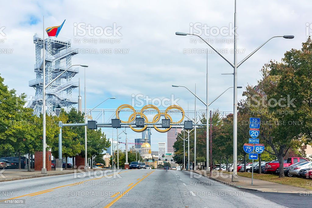 Olympic  park showing golden rings stock photo