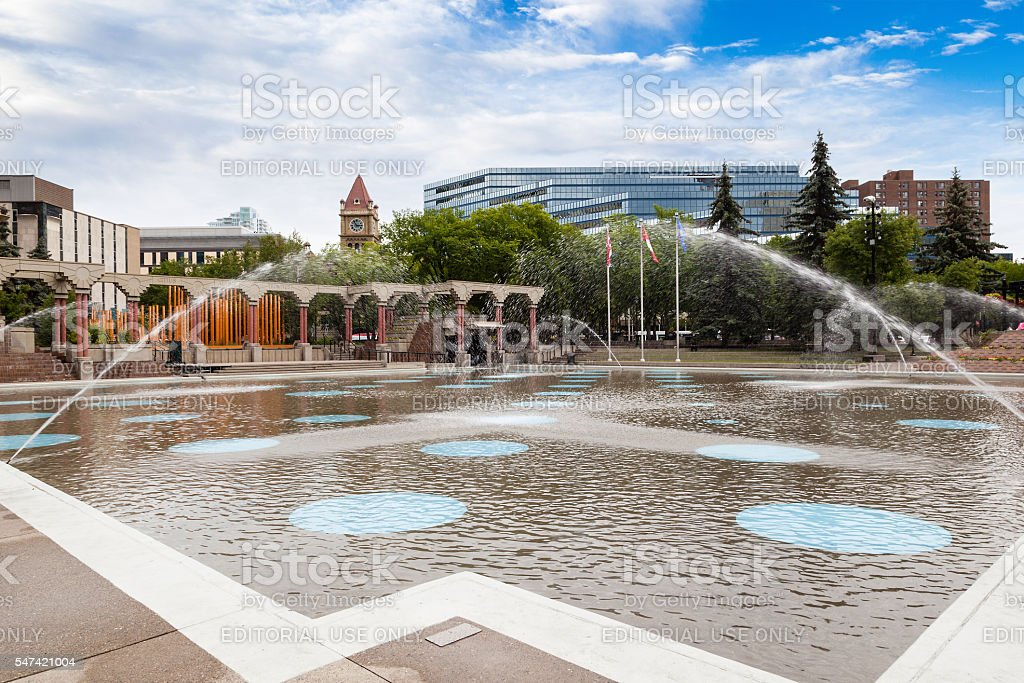 Olympic Plaza in Downtown Calgary stock photo