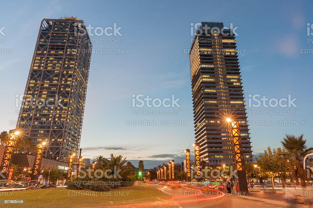 Olympic Port district Barcelona Hotel Arts and Mapfre Tower stock photo
