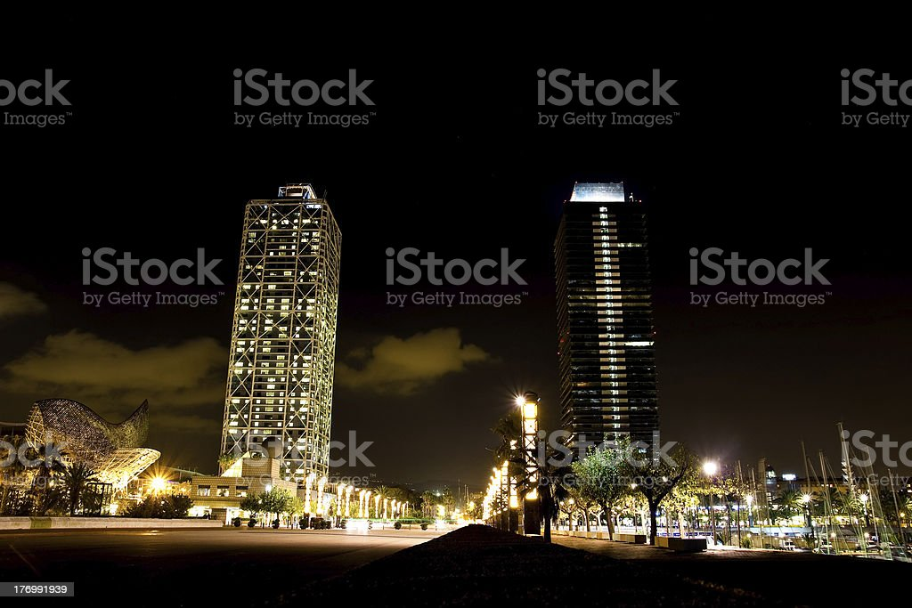 Olympic port in Barcelona at night stock photo