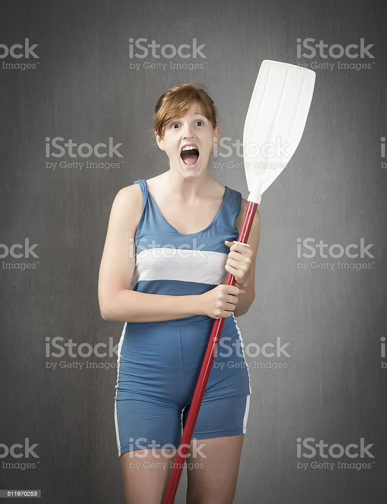 olympic rower screaming stock photo