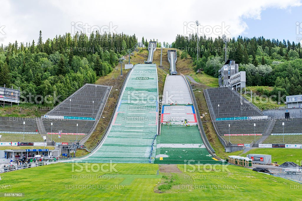 Olympic ski jump in Lillehammer, Norway. stock photo