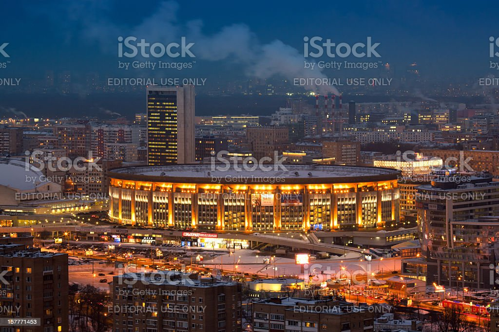 Olympic Stadium in Moscow at night royalty-free stock photo