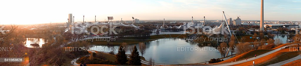 Olympic Stadium in Munich at sunset in autumn stock photo