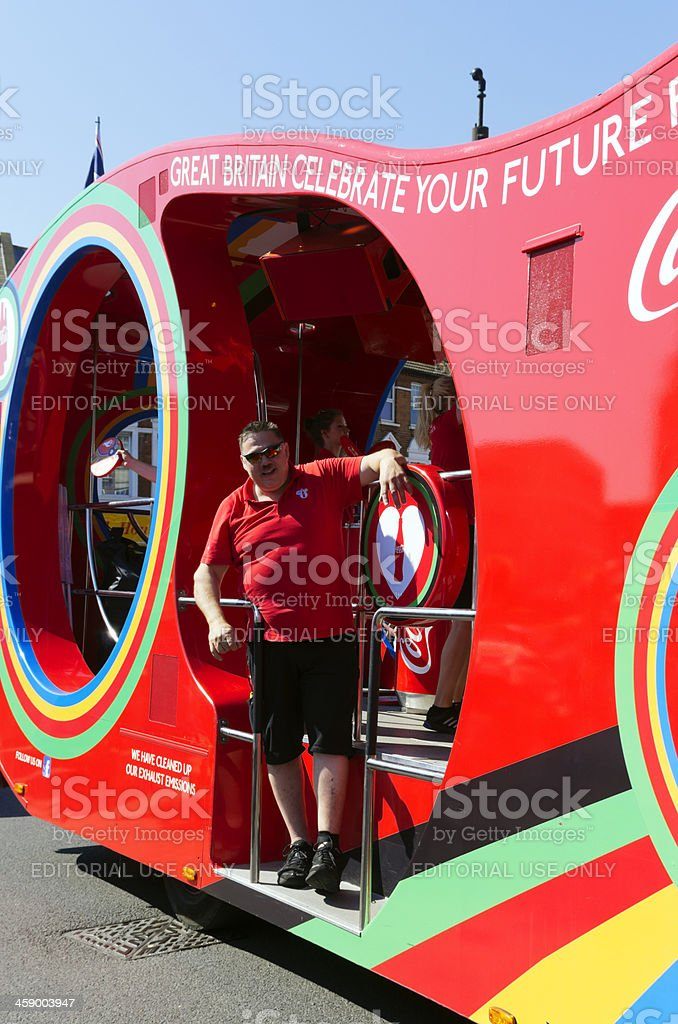 Olympic Torch Relay - Coca Cola vehicle stock photo