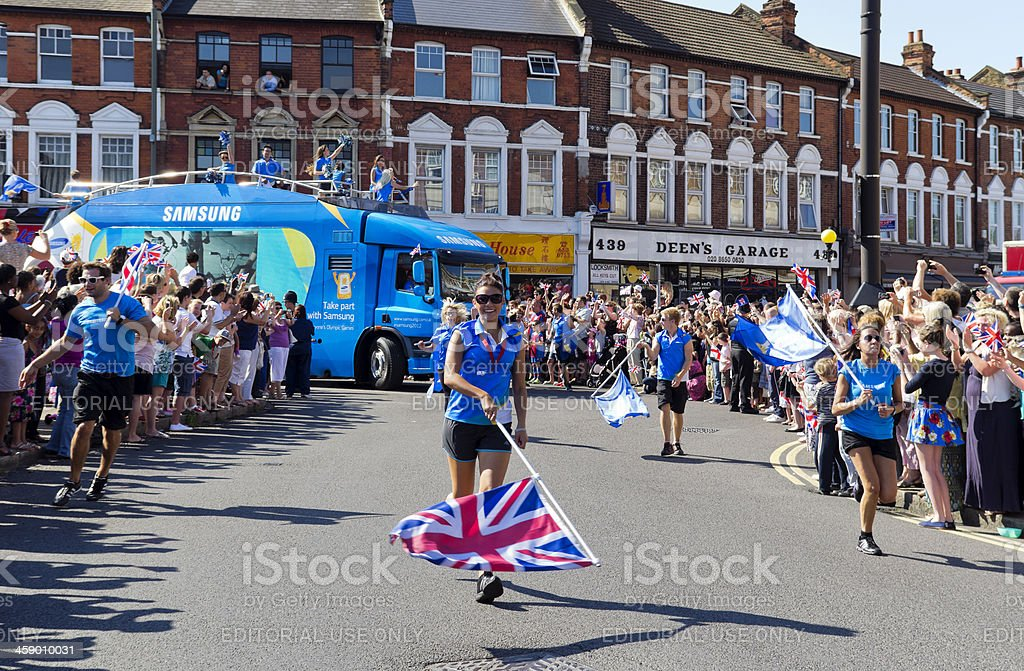 Olympic Torch Relay - Samsung cheer-leaders stock photo
