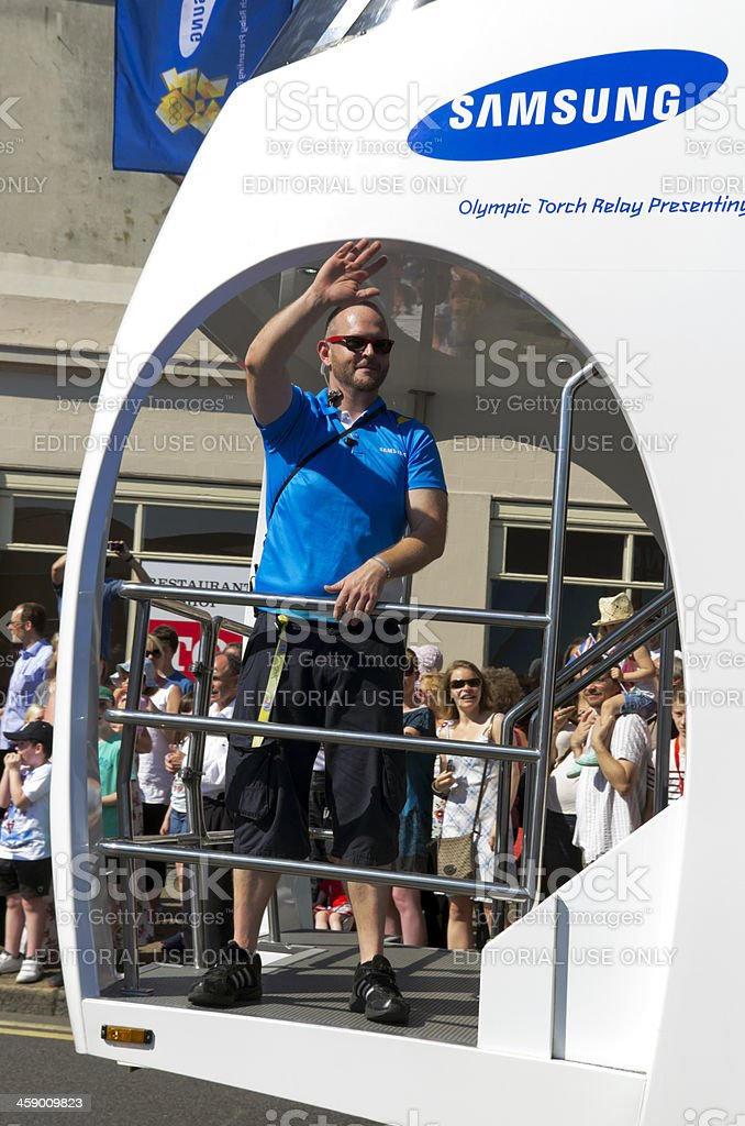 Olympic Torch Relay - Samsung vehicle stock photo