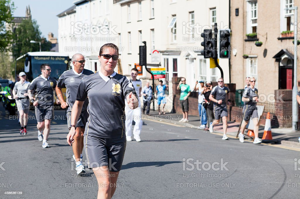 Olympic Torch Relay security team stock photo