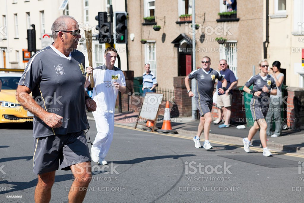 Olympic Torch Security stock photo
