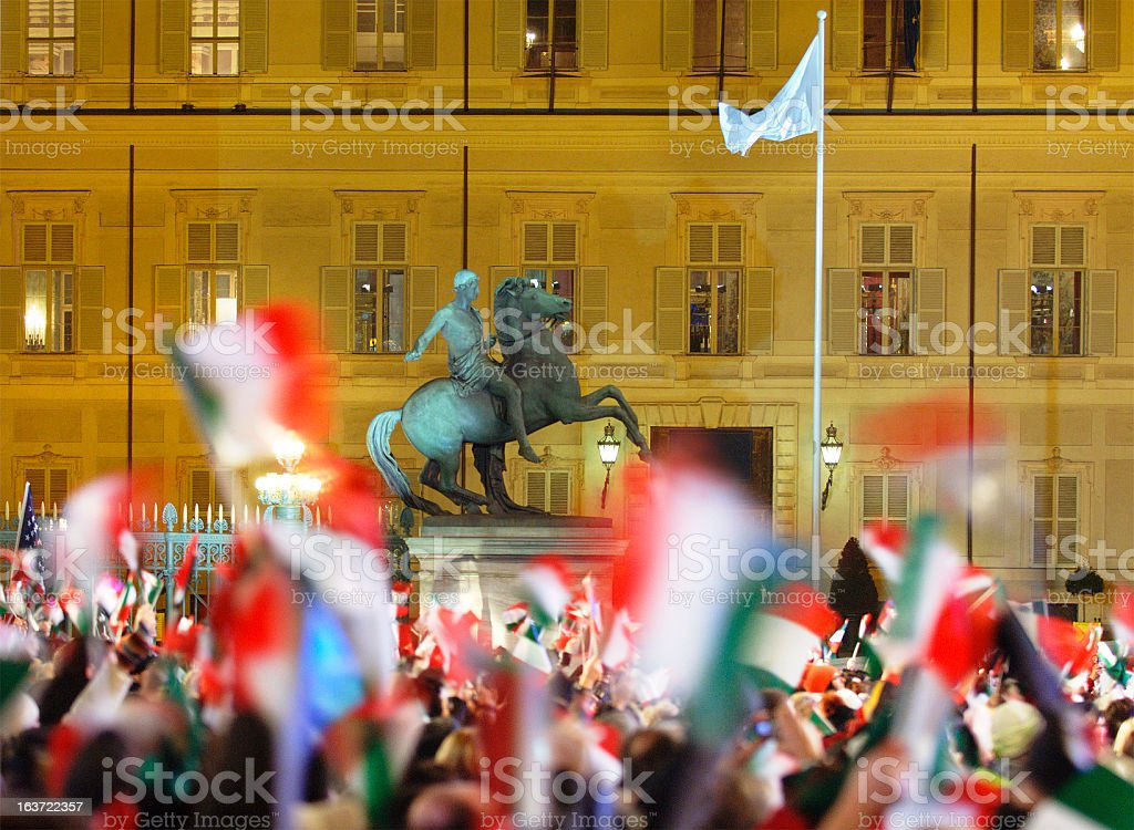 Olympic winter games Turin 2006, many flags flying, Castello square royalty-free stock photo