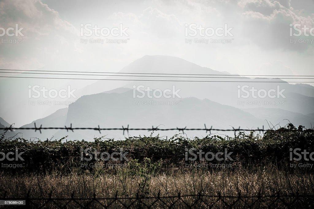 Olympus behind bars stock photo