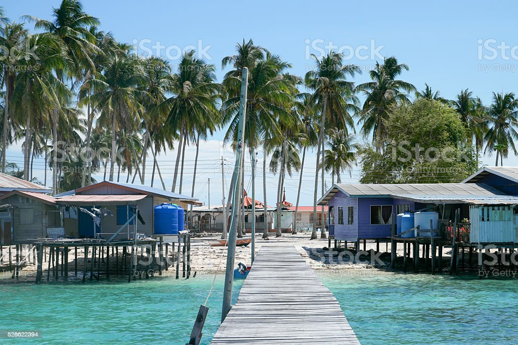 Omadal Island village and wooden jetty located in Semporna, Saba stock photo