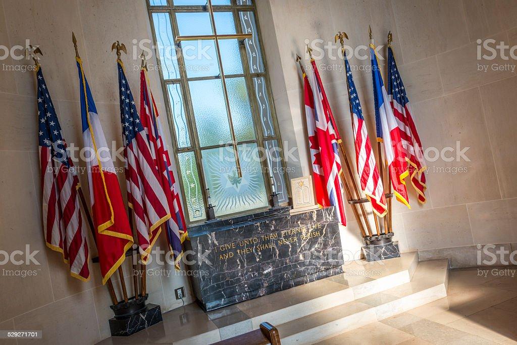 Omaha Beach Chapel Interior stock photo