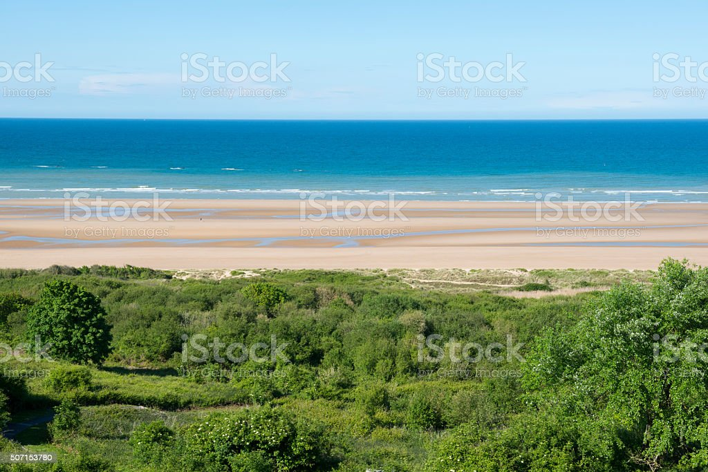 Omaha Beach in Colleville-sur-Mer, Normandy, France stock photo