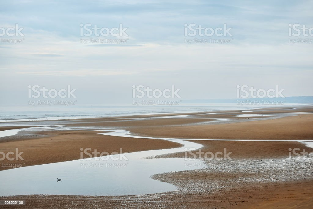 Omaha beach in Normandy, France. D-day monument stock photo