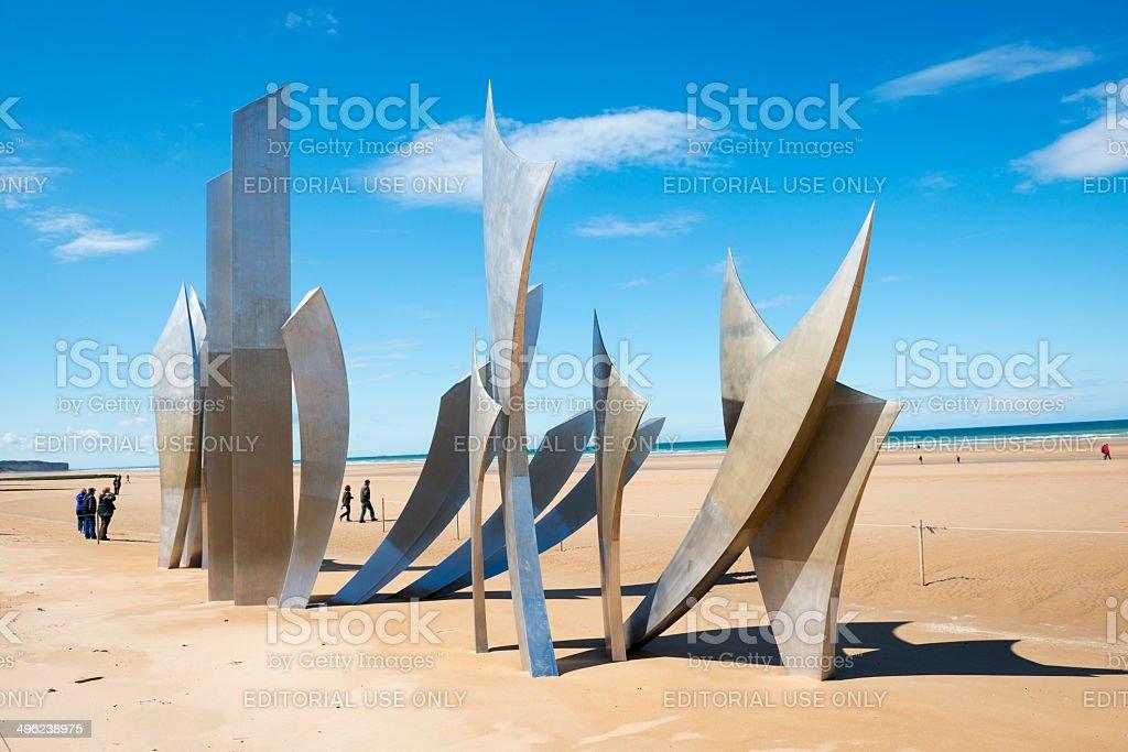 Omaha Beach Les Braves memorial - Normandy, France stock photo