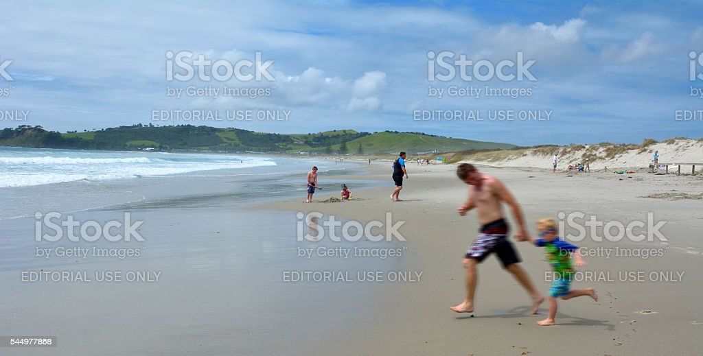 Omaha beach - New Zealand stock photo