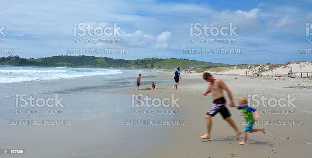Omaha beach - New Zealand stock photo