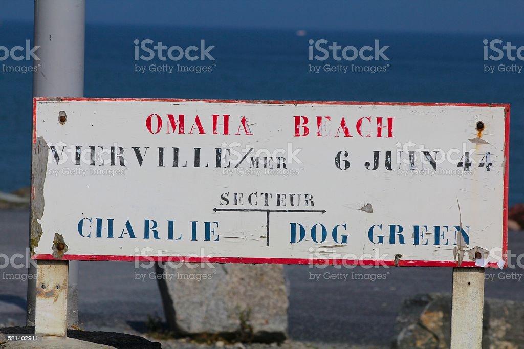 Omaha Beach Sign, Normandy Invasion stock photo