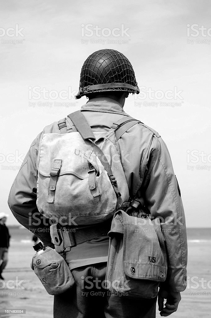 Omaha Beach Soldier. stock photo