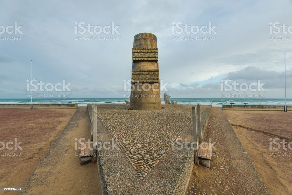 Omaha Beach World War Memorial in Normandy,France. stock photo