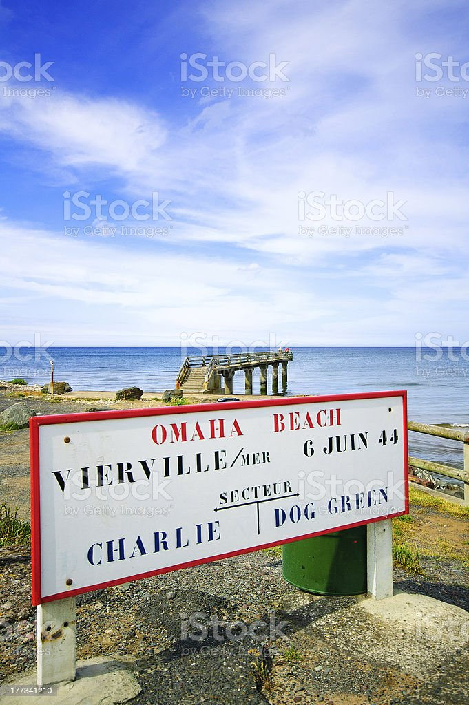 Omaha Beach World War Normandy location signboard Vierville sur Mer stock photo