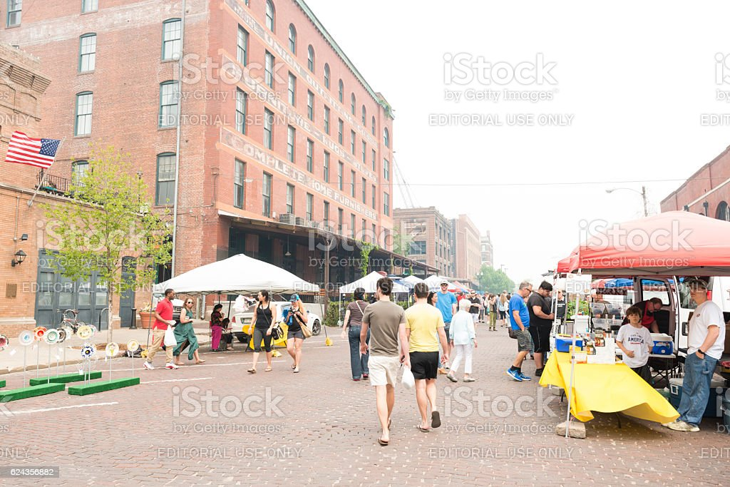 Omaha Nebraska Old Market Vendors and Local People Community Event stock photo