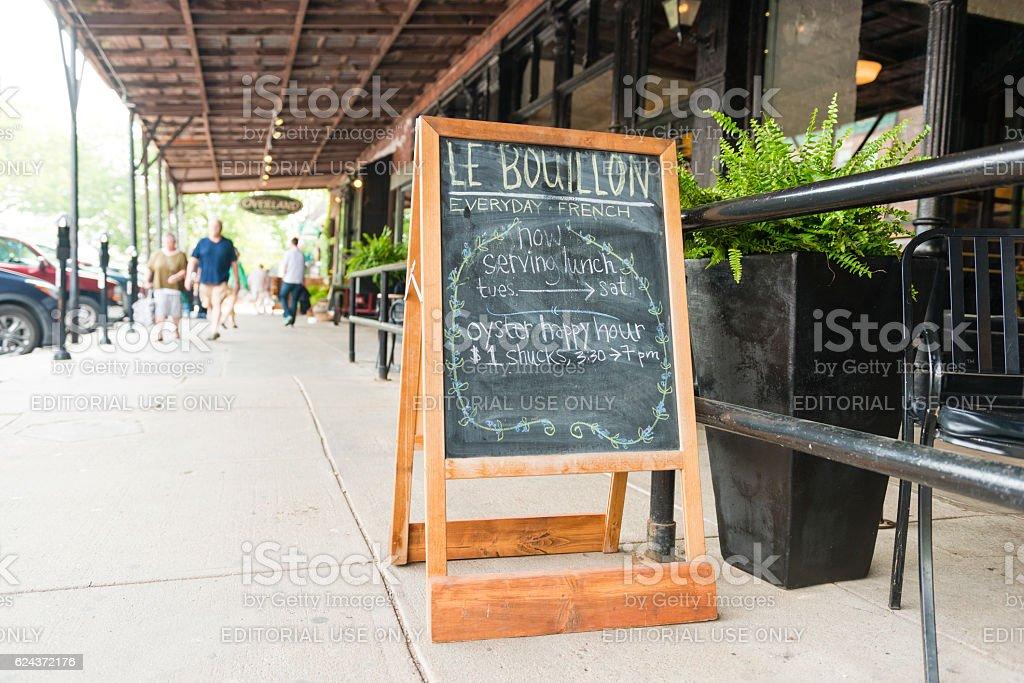 Omaha Nebraska Restaurant Advertises Specials with Chalkboard on Sidewalk USA stock photo