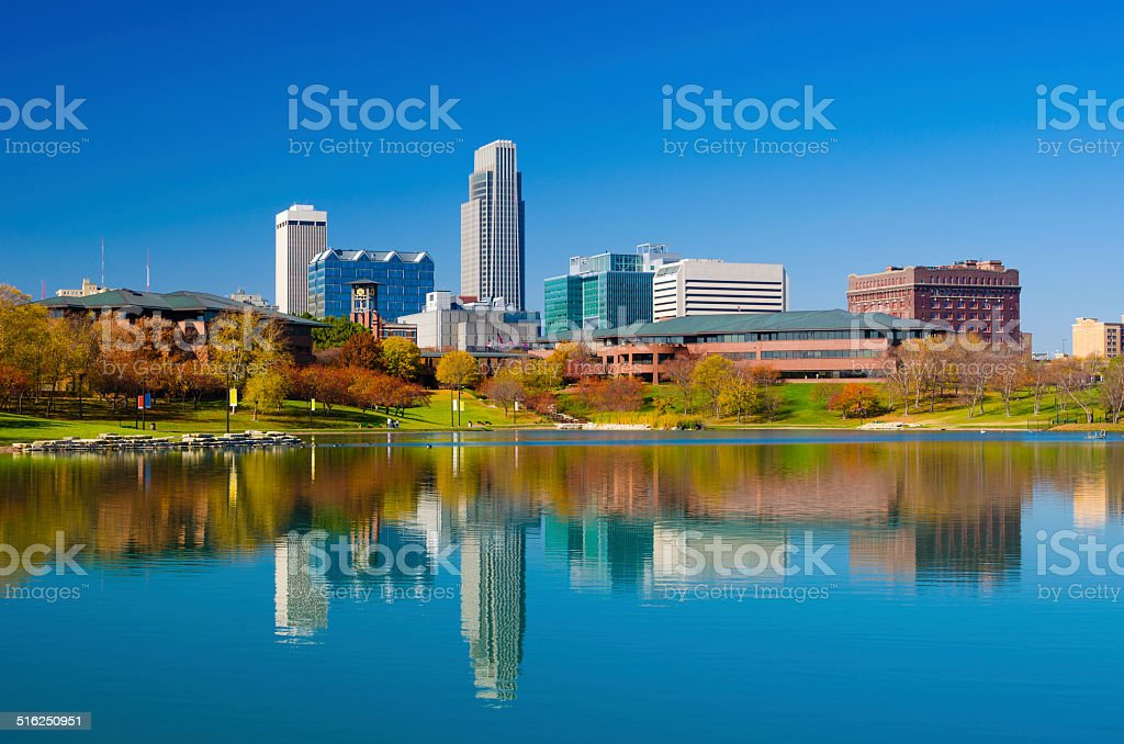 Omaha skyline and lake at Autumn stock photo
