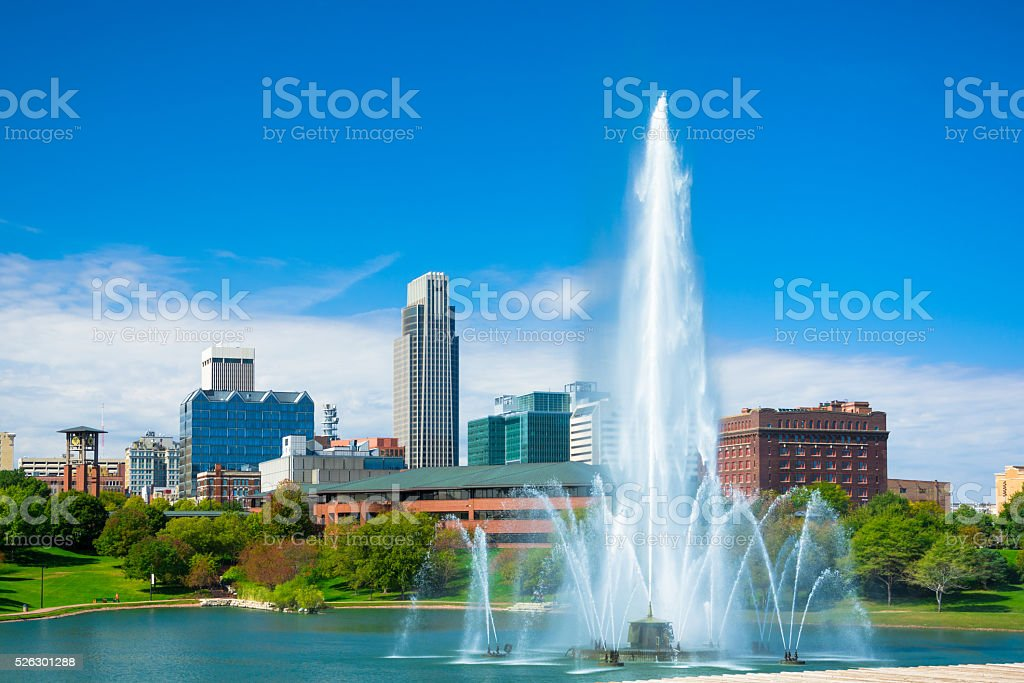 Omaha skyline with fountain and lake stock photo