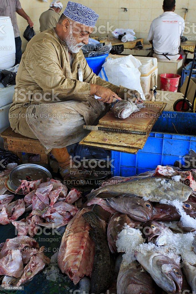 Oman fishmonger royalty-free stock photo