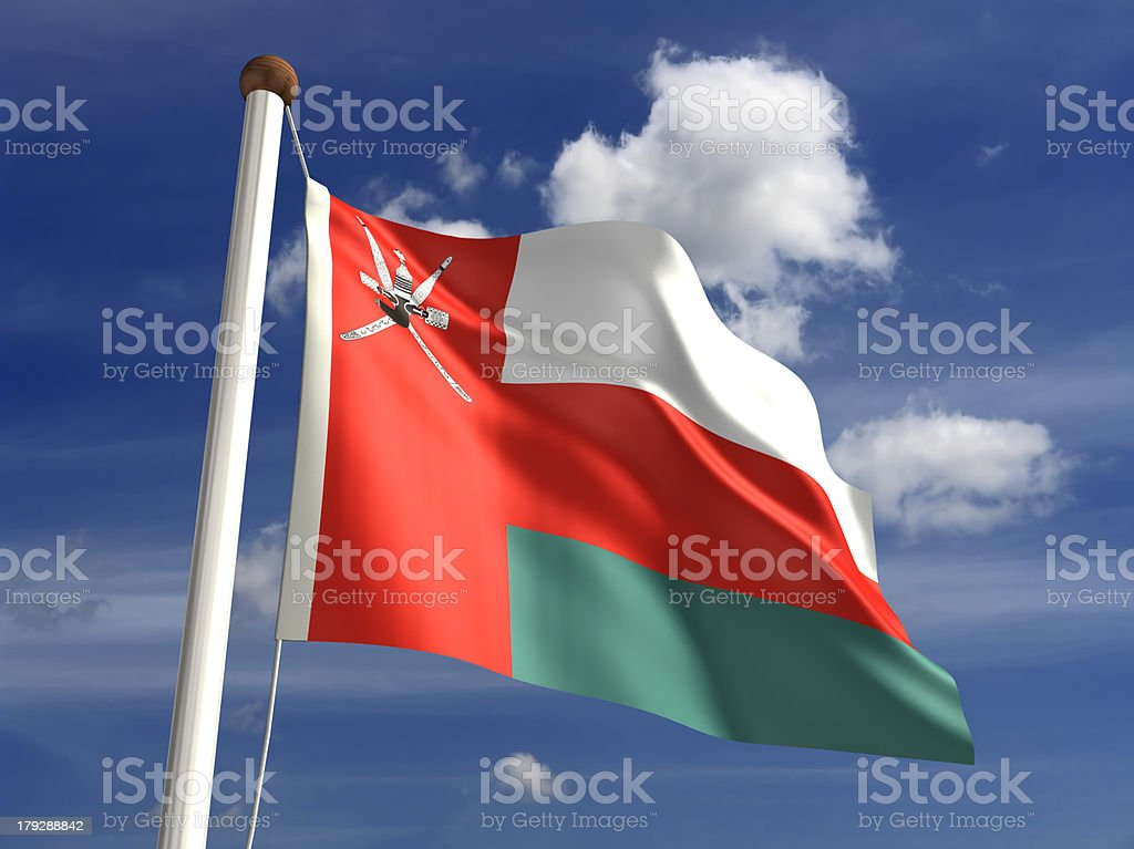 Oman flag (with clipping path) royalty-free stock photo