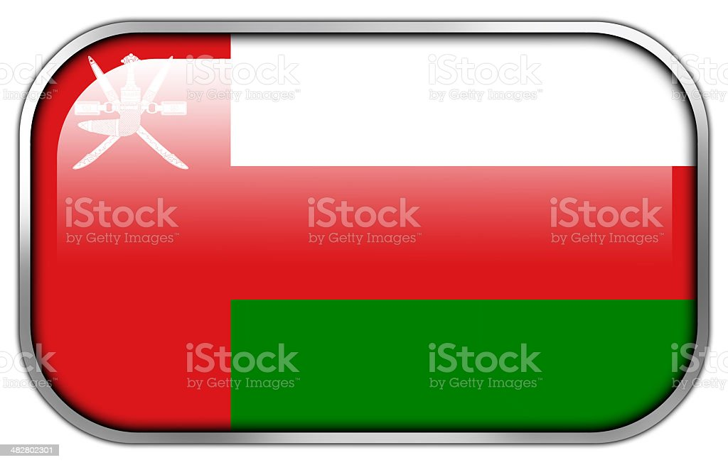 Oman Flag rectangle glossy button royalty-free stock photo