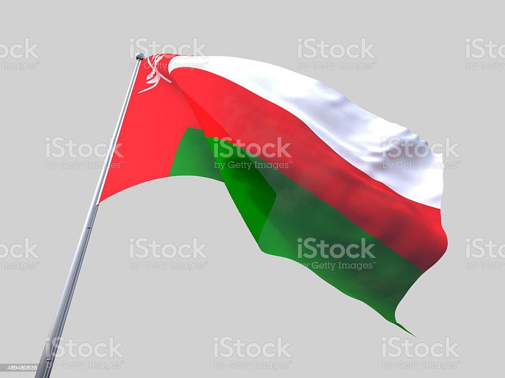 Oman flying flag isolate on white background. stock photo
