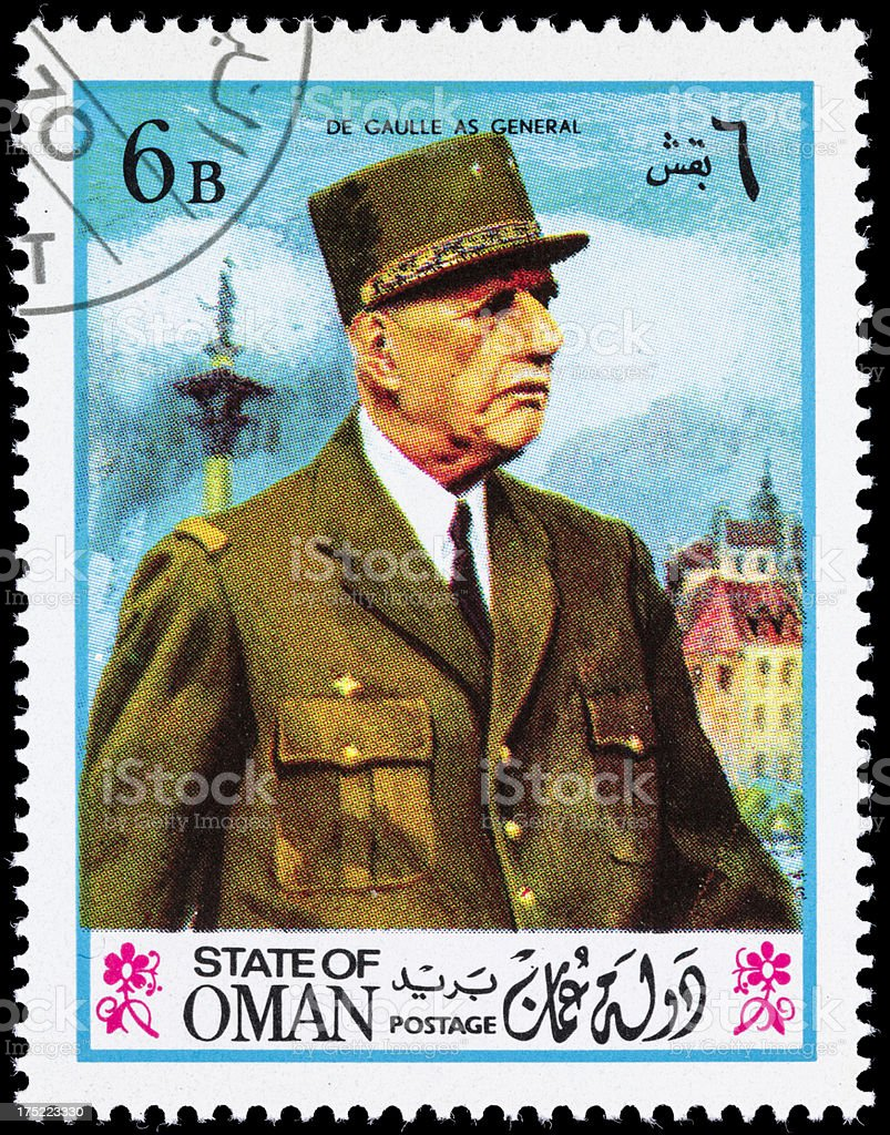 Oman General Charles De Gaulle postage stamp royalty-free stock photo