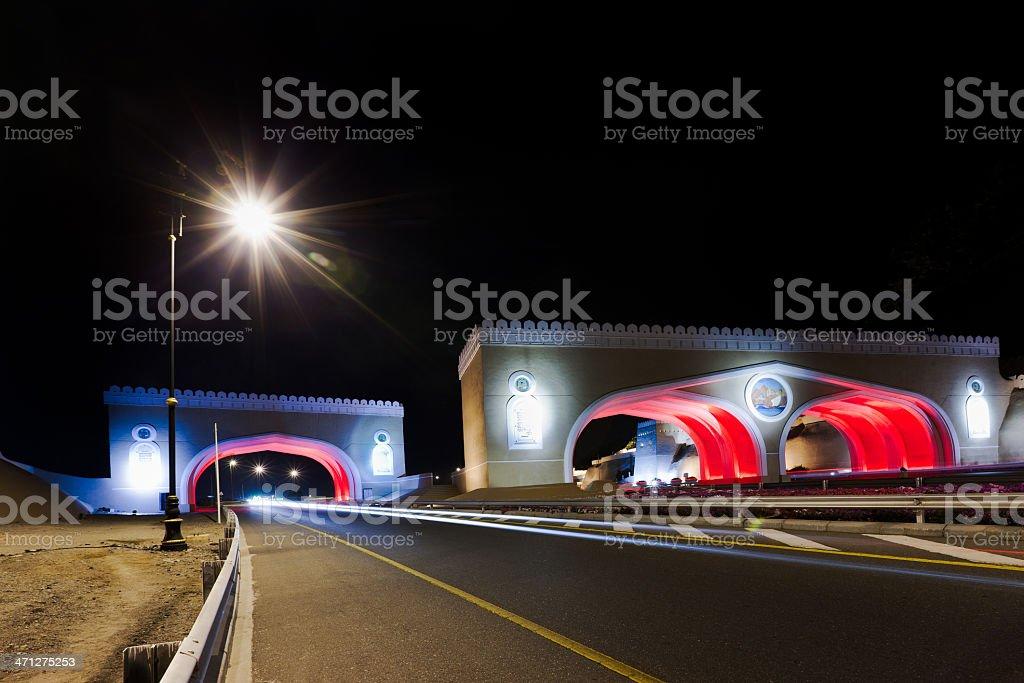 Oman Highway Matrah City Gates at Night royalty-free stock photo
