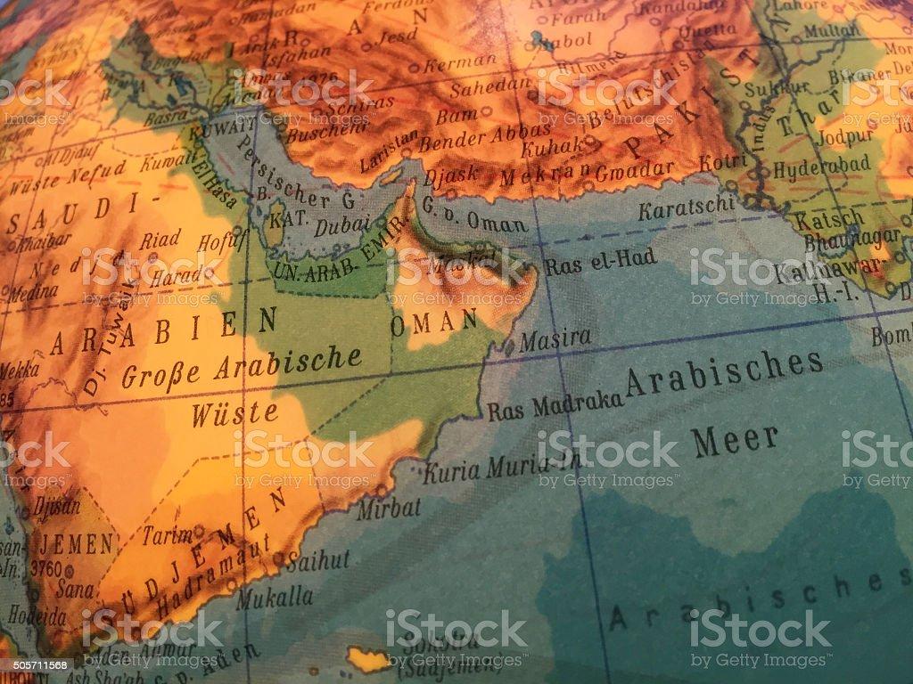 Oman, Jemen, Saudi Arabien - Globus / Weltkarte stock photo